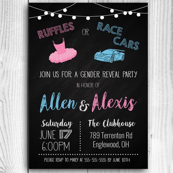 Ruffles or Race Cars Gender Reveal Invitation