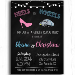 Semi Truck Heels or Wheels Gender Reveal Invitation