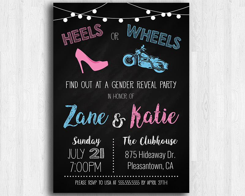 Heels or Wheels (Classic Motorcycle) Printable Gender Reveal ...