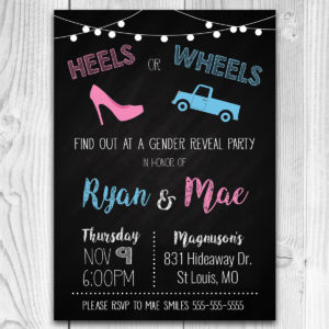 Pickup Truck Heels or Wheels Gender Reveal Invitation