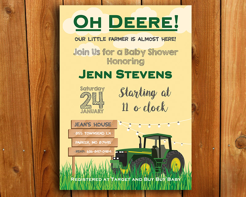 Green Tractor Country Printable Baby Shower Invitation | The Baby Bee