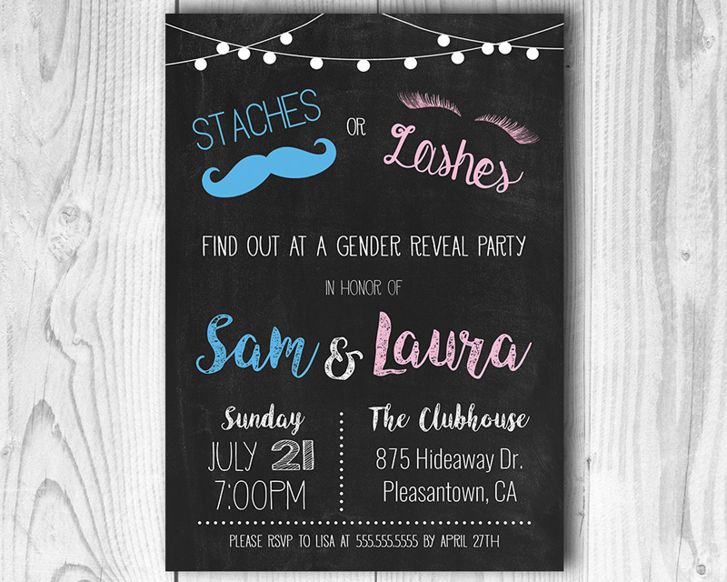 Staches or Lashes Printable Gender Reveal Invitation | The Baby Bee