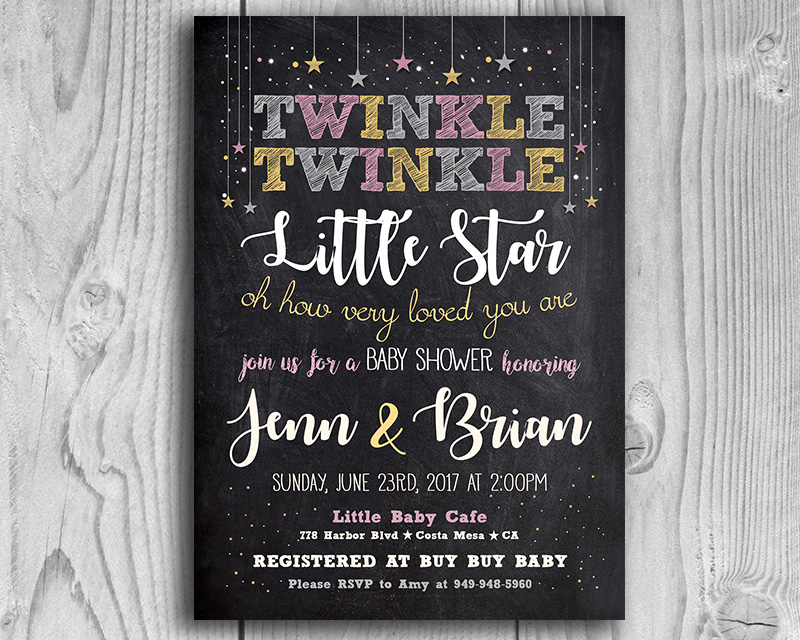 photograph regarding Free Printable Twinkle Twinkle Little Star Baby Shower Invitations named Twinkle Twinkle Very little Star Printable Boy or girl Shower Invitation