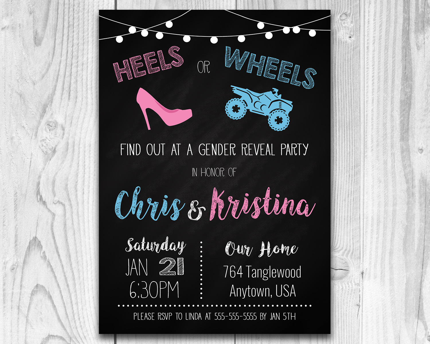 graphic about Printable Gender Reveal Invitations named Heels or Wheels Printable Gender Describe Invitation (ATV)