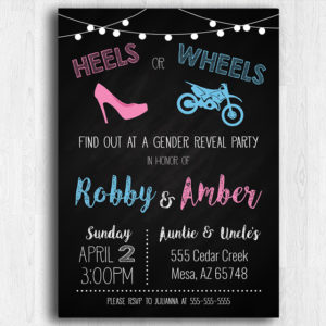 heels or wheels dirt bike gender reveal invitation