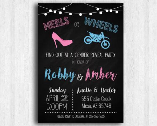 heels or wheels dirt bike gender reveal invitation