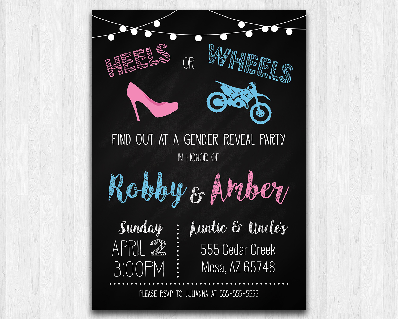 Heels Or Wheels Dirt Bike Printable Gender Reveal Invitation The Baby Bee