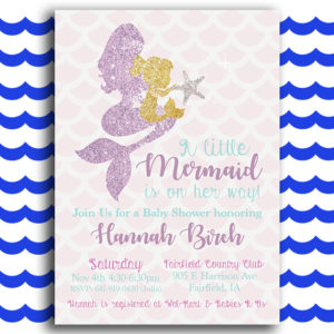 Glittery Mermaid Baby Shower Invitation