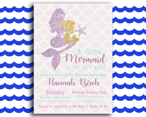 Glittery Mermaid Baby Shower Invitation