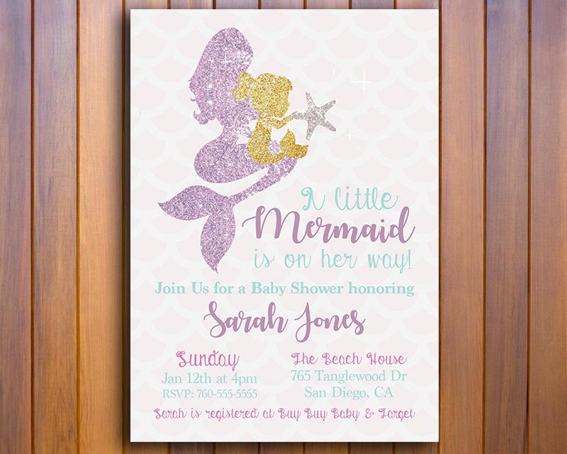 Glittery Mermaid Printable Baby Shower Invitation The Baby Bee