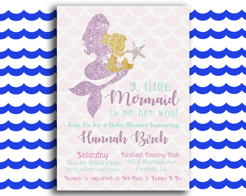 Perfect Glittery Mermaid Baby Shower Invitation