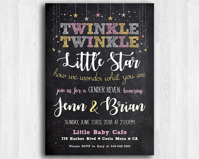 Twinkle Twinkle Little Star Printable Gender Reveal Invitation The