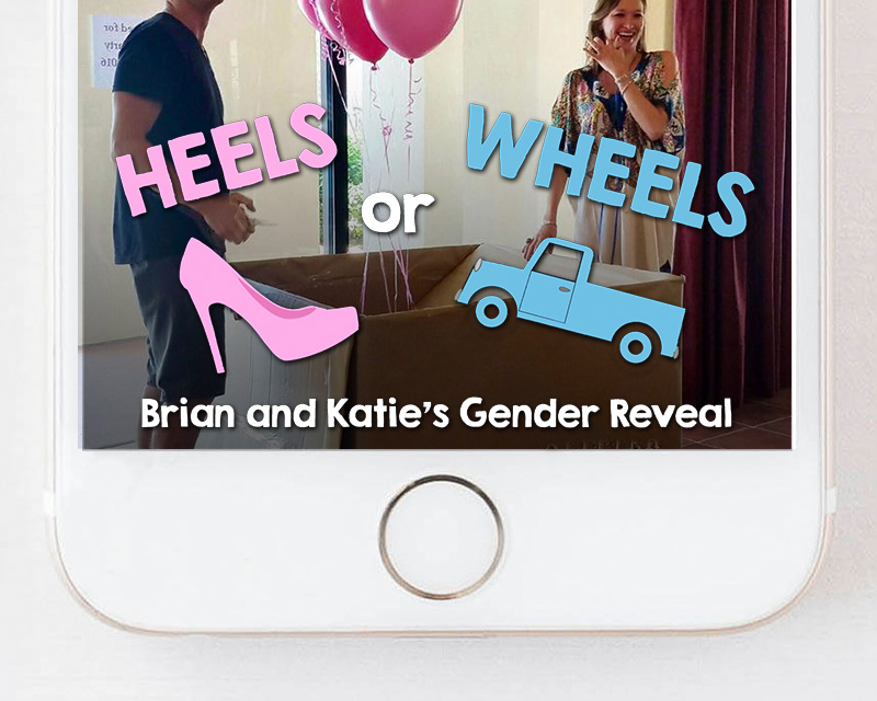 Pickup Truck Heels or Wheels Gender Reveal Snapchat Filter