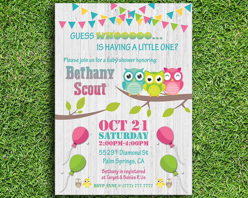Owl Themed Printable Baby Shower Invitation