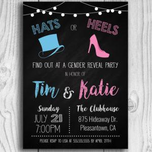 Hats or Heels Gender Reveal Invitation