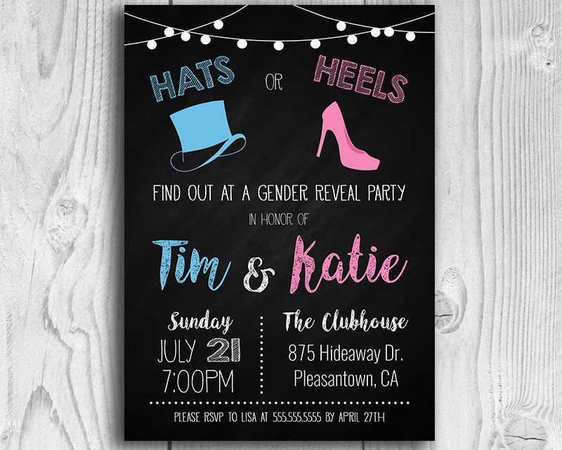 Hats or Heels Gender Reveal Invitation
