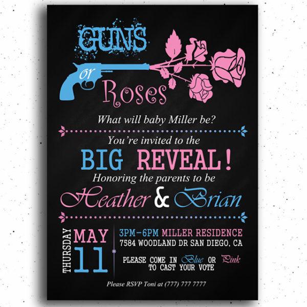 Guns or Roses Printable Gender Reveal Invitation