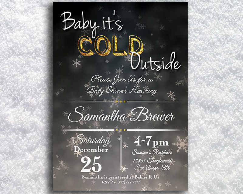 Baby It's Cold Outside Winter Printable Baby Shower Invitation