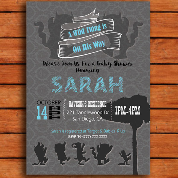 A Wild Thing is on His Way Baby Show Invitation