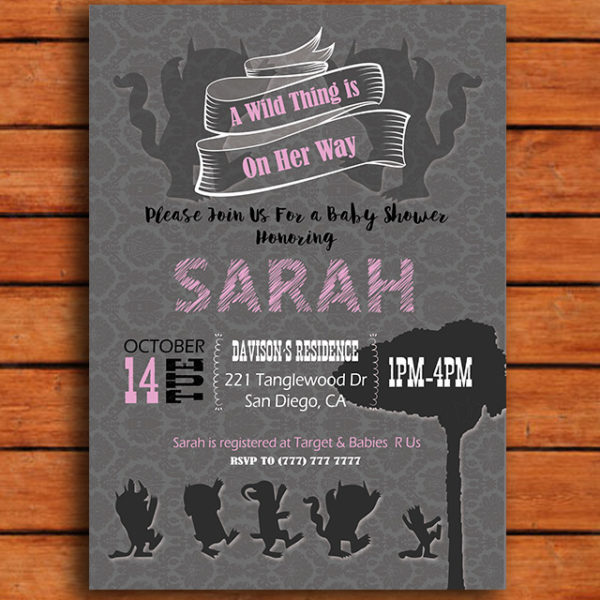 A Wild Thing is on Her Way Baby Show Invitation