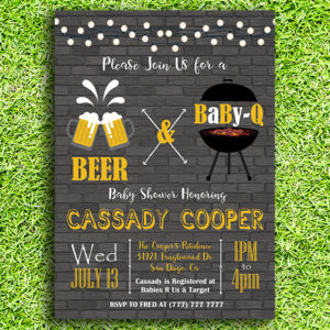Beer & Baby-Q Printable Baby Shower Invitation