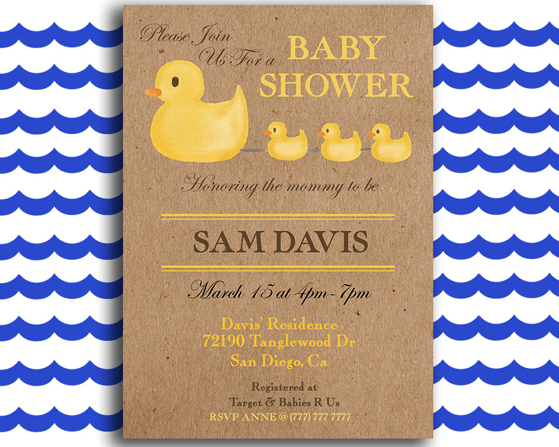 picture regarding Rubber Ducky Printable titled Rubber Duck Printable Kid Shower Invitation