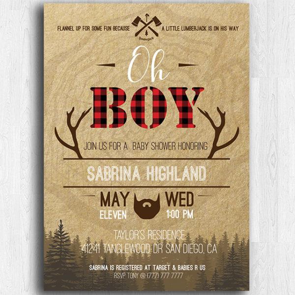 Lumberjack Printable Baby Shower Invitation