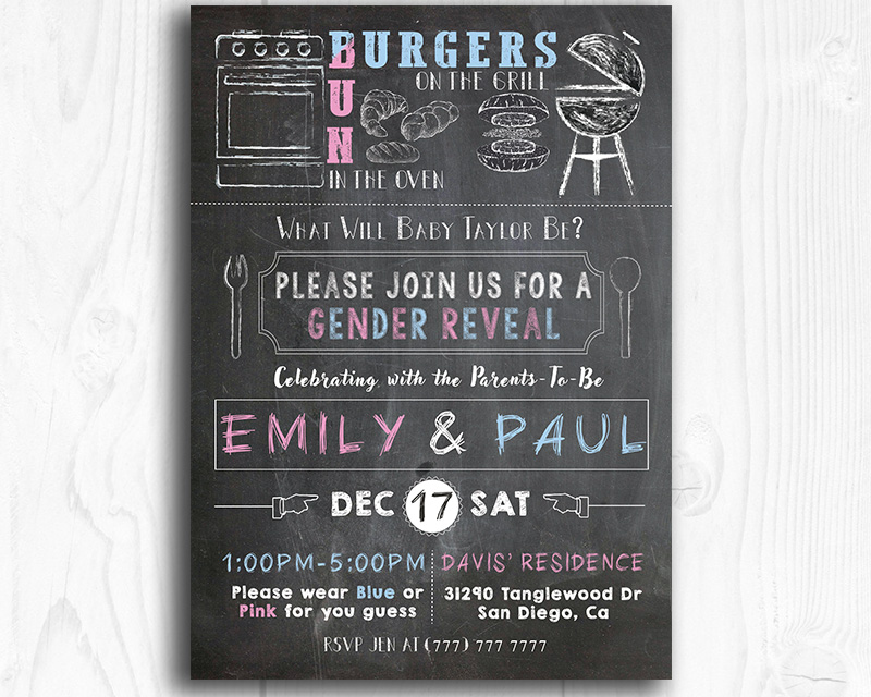 Bun in the Oven Printable Gender Reveal Invitation