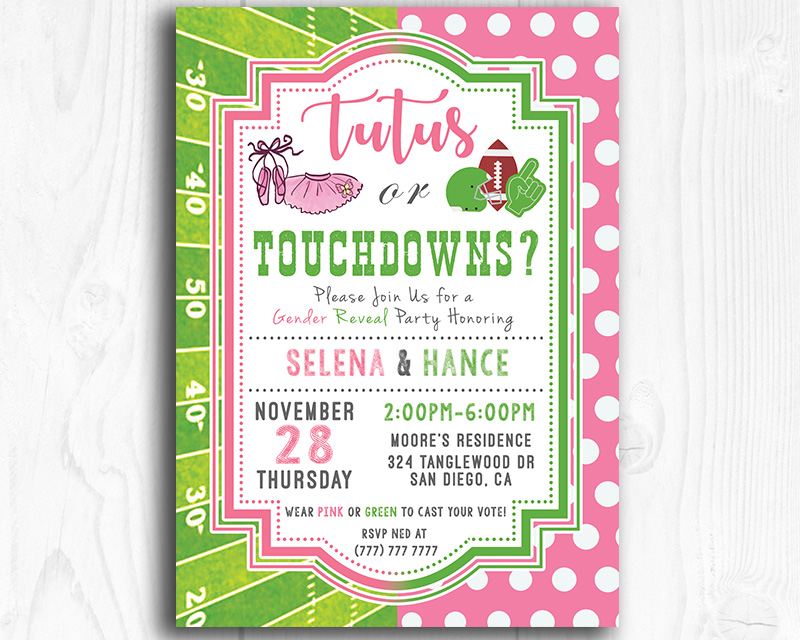 image about Printable Gender Reveal Invitations identified as Tutus or Touchdowns Printable Gender Describe Invitation