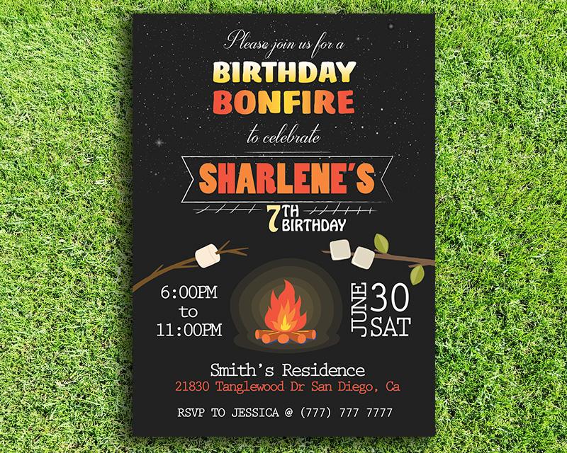 Bonfire Themed Printable Birthday Invitation