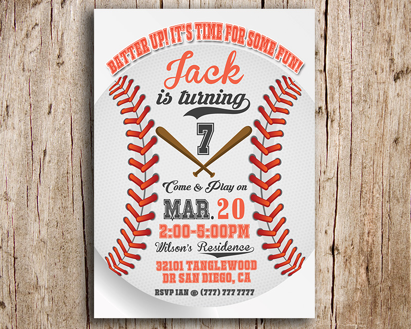 Baseball Themed Printable Birthday Party Invitation The Baby Bee