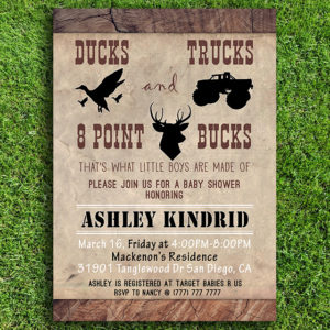 Ducks, Trucks, and 8 Point Bucks Printable Baby Shower Invitation