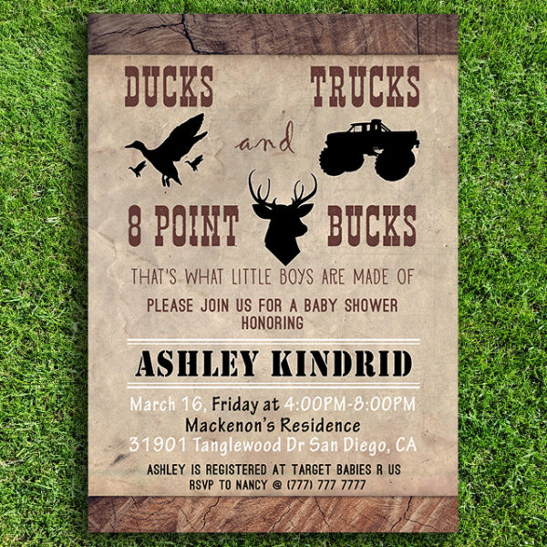 Ducks, Trucks, and 8 Point Bucks Printable Baby Shower Invitation