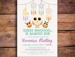 Guess Who Owl Themed Printable Baby Shower Invitation