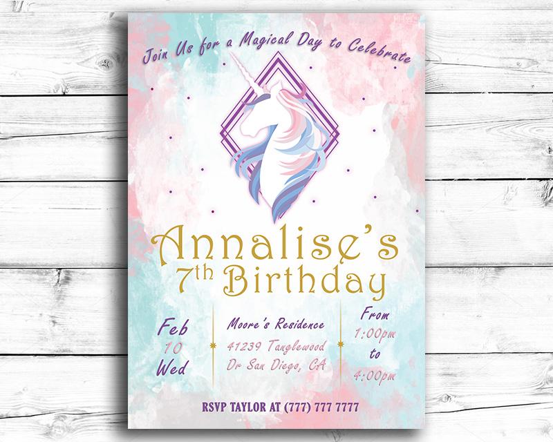 Girl's Unicorn Printable Birthday Invitation