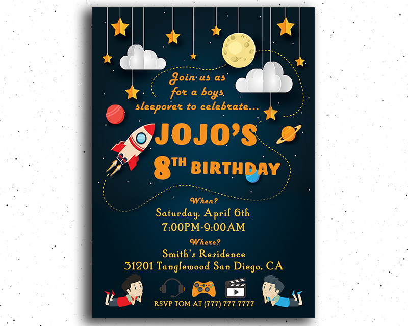Boy's Sleepover Printable Birthday Invitation