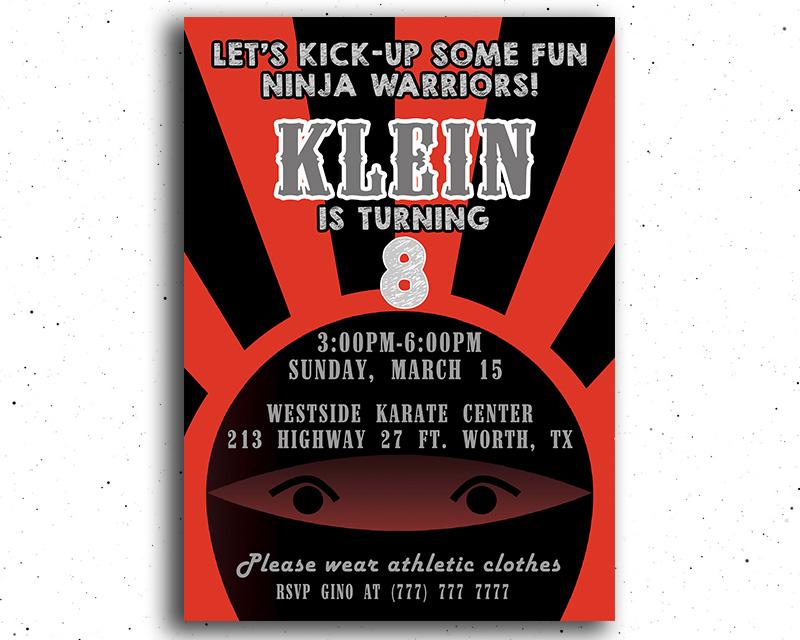 Ninja Themed Printable Birthday Invitation