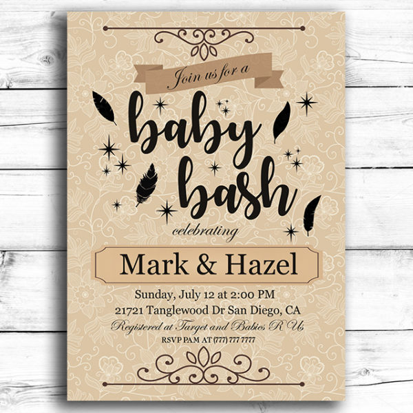 Baby Bash Printable Baby Shower Invitation