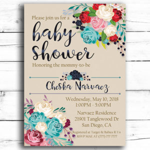 Elegant Flower Printable Baby Shower Invitation