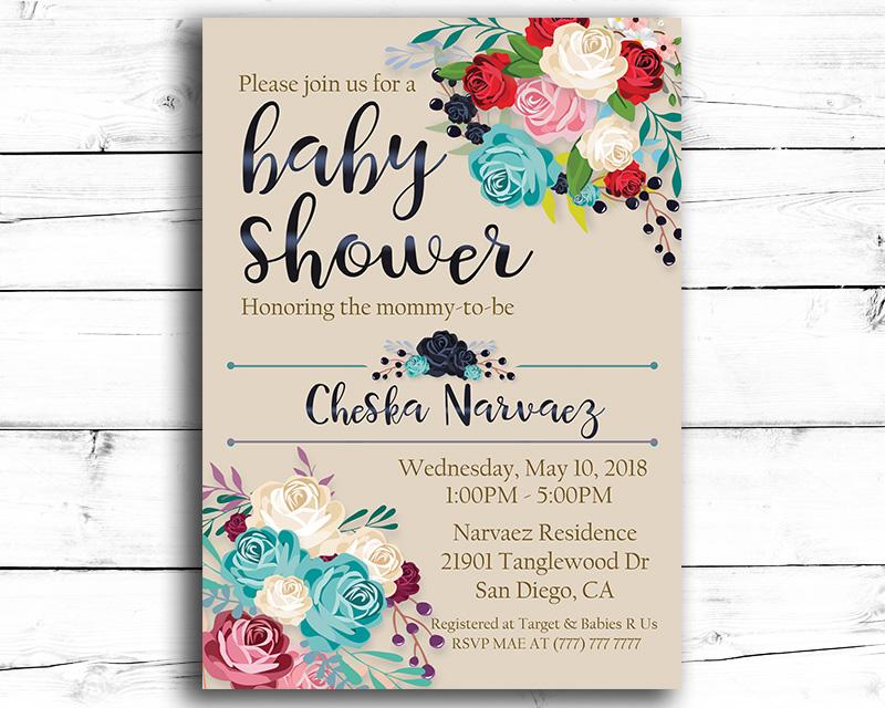 Elegant Flower Printable Baby Shower Invitation