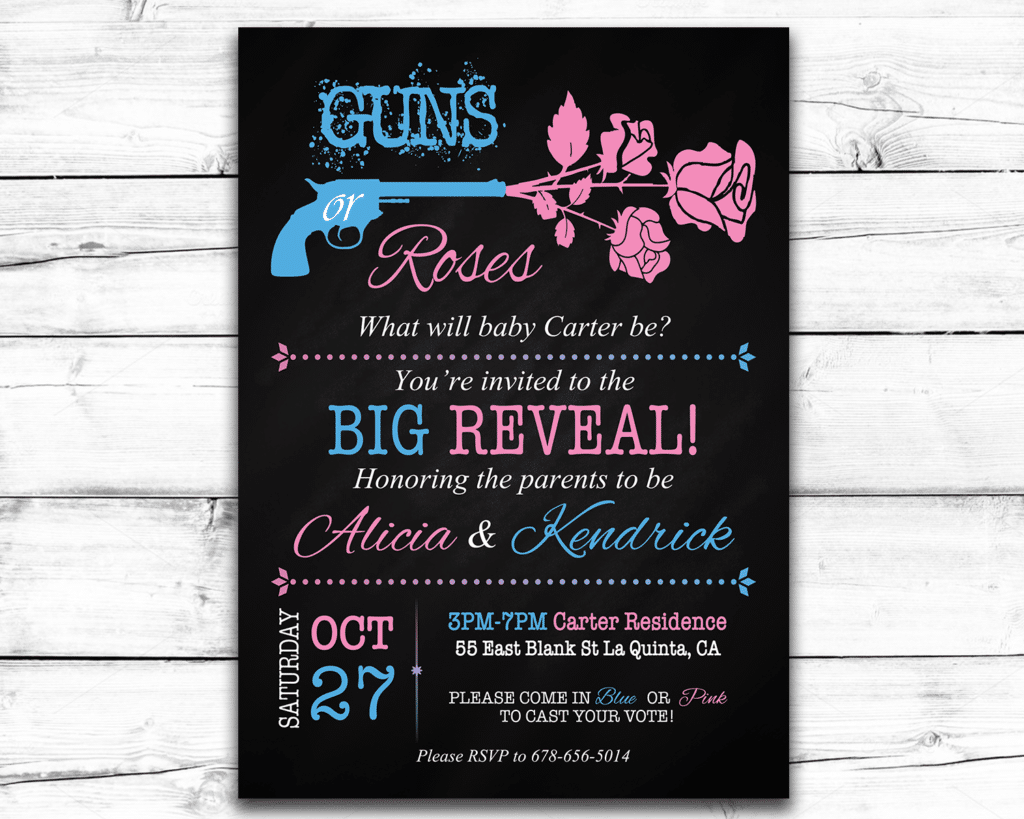 photograph relating to Gender Reveal Printable identified as Guns or Roses Printable Gender Explain Invitation