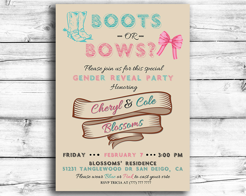 Boots or Bows Printable Gender Reveal Invitation