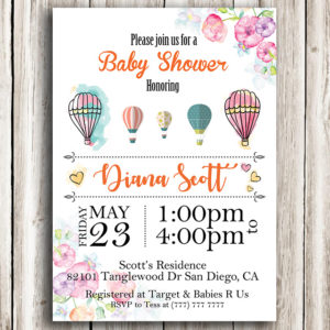 Flower Printable Baby Shower Invitation