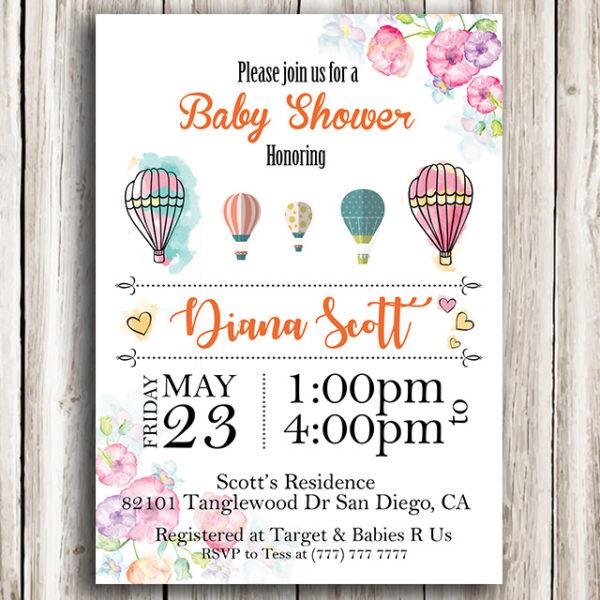 Flower Printable Baby Shower Invitation