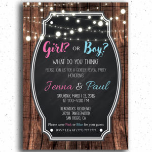 Girl or Boy Backyard Gender Reveal Invitation