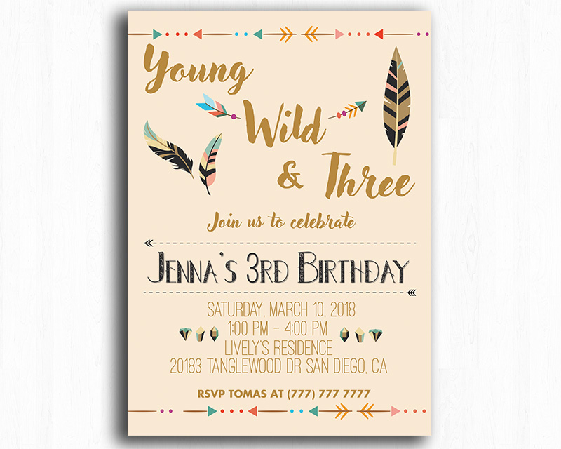 Young, Wild, and Three Printable Birthday Invitation