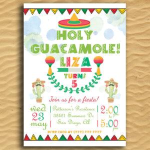 Holy Guacamole! Printable Birthday Invitation