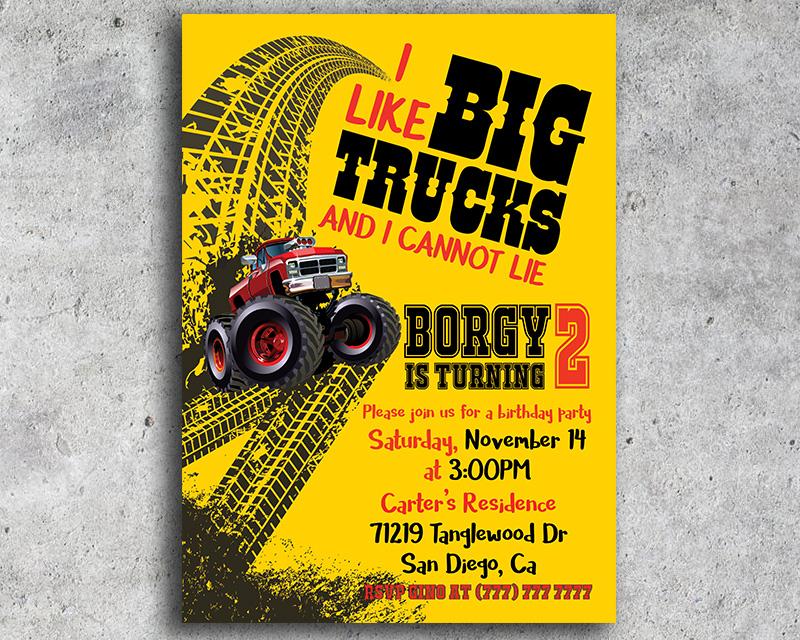 I Like Big Trucks Printable Birthday Invitation