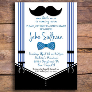 Bowtie and Mustache Printable Baby Shower Invitation