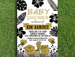 Gold and Black Printable Animal Baby Shower Invitation